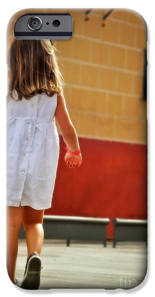 Little iPhone Cases - Little Girl in White Dress iPhone Case by Mary Machare