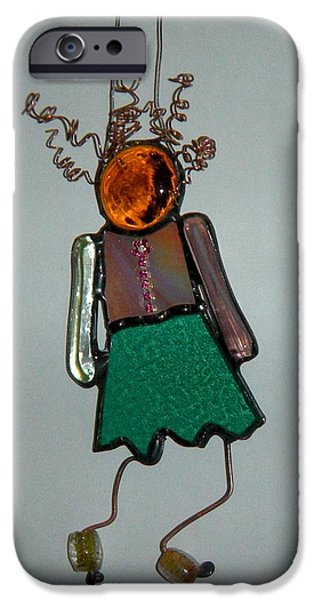 Little Glass Art iPhone Cases - Little girl iPhone Case by Nora Solomon