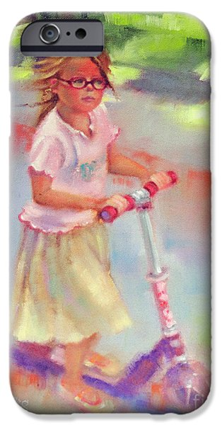 Park Scene Paintings iPhone Cases - Little Girl on Scooter iPhone Case by Marilyn Weisberg