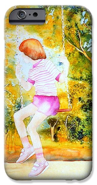 Park Scene Paintings iPhone Cases - Little Girl On The Park Swing Westmount Quebec City Scene Montreal Art iPhone Case by Carole Spandau