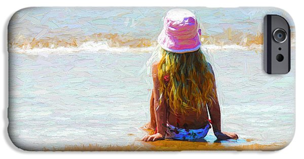 Little Girl iPhone Cases - Little girl sits on a beach iPhone Case by Sheila Smart