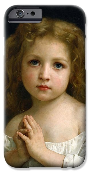 Little Girl iPhone Cases - Little Girl iPhone Case by William-Adolphe Bouguereau