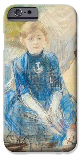 Innocence Child iPhone Cases - Little Girl With A Blue Jersey, 1886 Pastel On Canvas iPhone Case by Berthe Morisot