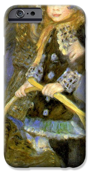 Little Girl iPhone Cases - Little Girl With A Hoop iPhone Case by Pierre Auguste Renoir