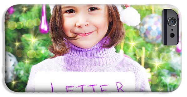 Anticipation Photographs iPhone Cases - Little girl with letter to Santa Claus iPhone Case by Anna Omelchenko