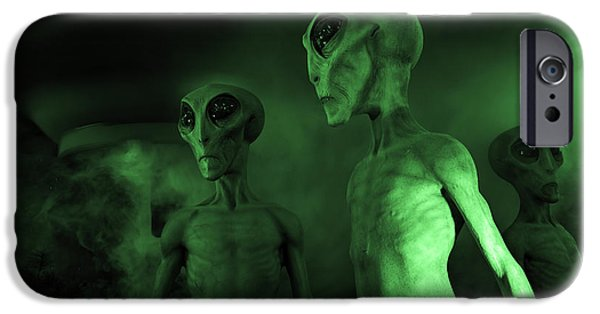 Space-craft iPhone Cases - Little Green Men Roswell iPhone Case by Bob Christopher