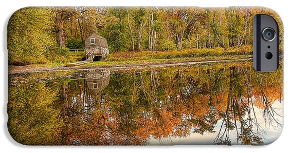 Concord Ma. iPhone Cases - Little House Reflection in Fall iPhone Case by Krista Sidwell