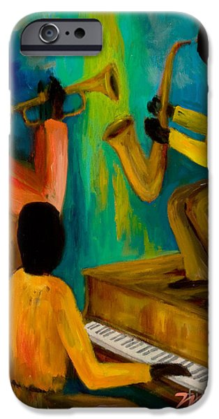 Grand Piano Paintings iPhone Cases - Little Jazz Trio I iPhone Case by Larry Martin