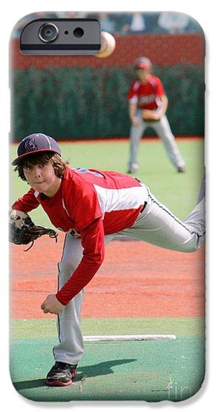 Little League Pitcher iPhone Case by Lisa Billingsley