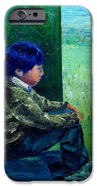 Thinking iPhone Cases - Little Man Big Dreams iPhone Case by EricA Art