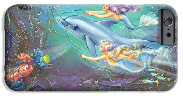 Marine iPhone Cases - Little Mermaids And Dolphin iPhone Case by Zorina Baldescu