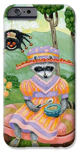Porridge iPhone Cases - Little Miss Raccoon Muffett iPhone Case by Jacquelin Vanderwood