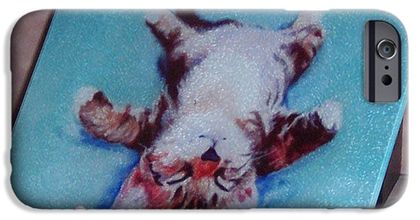 Animal Glass iPhone Cases - Little Napper cutting and serving board iPhone Case by Pat Saunders-White