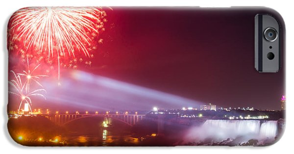 Pyrotechnics iPhone Cases - Little Niagara Falls Fireworks iPhone Case by James Wheeler