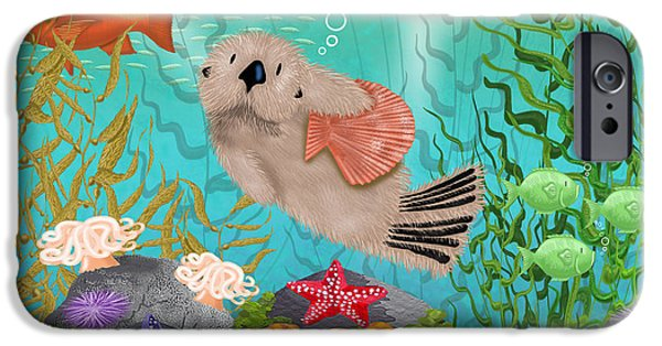 Otter Digital Art iPhone Cases - Little Otter iPhone Case by Merry  Kohn Buvia