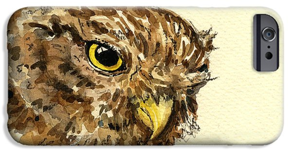Nature Study Paintings iPhone Cases - Little Owl iPhone Case by Juan  Bosco