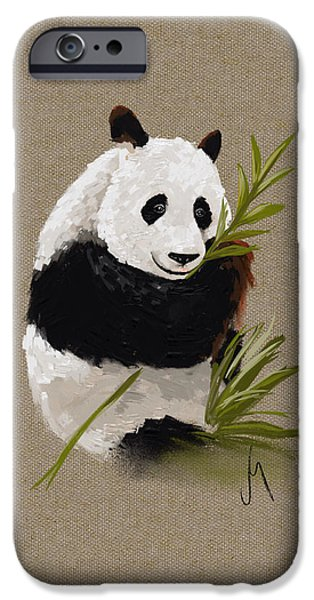 Animal Cards iPhone Cases - Little panda iPhone Case by Veronica Minozzi