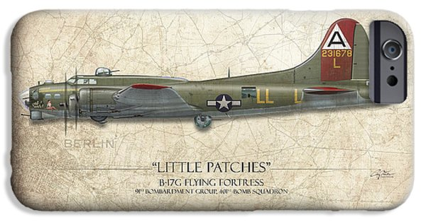 Little iPhone Cases - Little Patches B-17 Flying Fortress - Map Background iPhone Case by Craig Tinder