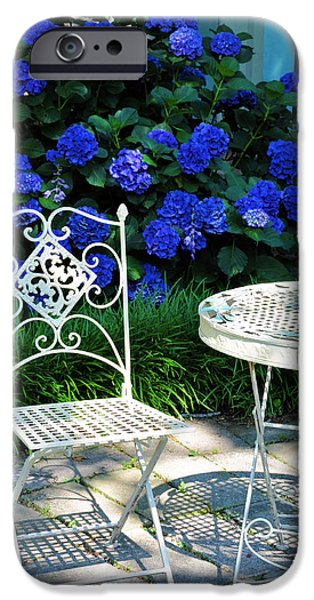 Flower Gardens Photographs iPhone Cases - Little Patio Chair iPhone Case by Jan Amiss Photography