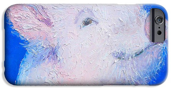 Piglets Paintings iPhone Cases - Little piglet iPhone Case by Jan Matson