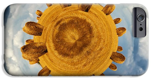 Hay Bales iPhone Cases - Little planet hay bales iPhone Case by Jane Rix