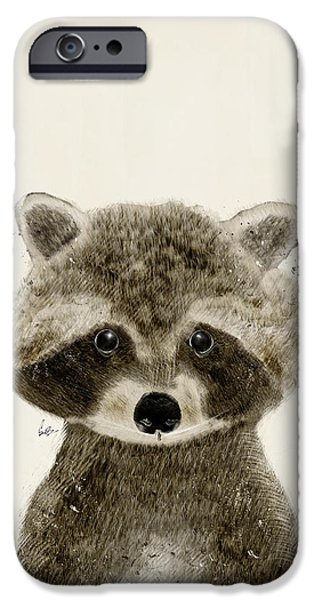 Raccoon iPhone Cases - Little Raccoon iPhone Case by Bri Buckley