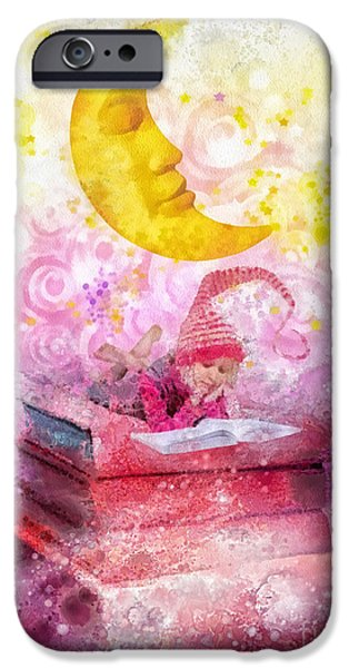 Little Girl Mixed Media iPhone Cases - Little Reader iPhone Case by Mo T