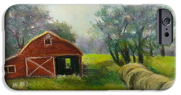 Barn Landscape Pastels iPhone Cases - Little Red Barn iPhone Case by Alisha West
