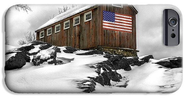 New England Snow Scene iPhone Cases - Little Red Barn at Greyledge Farm iPhone Case by Thomas Schoeller