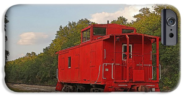 Machinery iPhone Cases - Little Red Caboose iPhone Case by HH Photography
