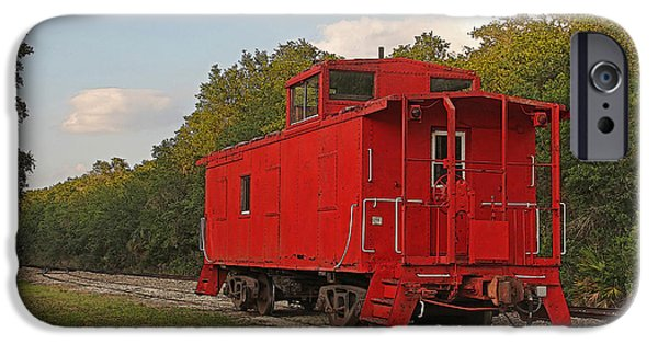 Machinery iPhone Cases - Little Red Caboose iPhone Case by HH Photography of Florida