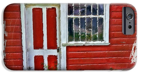 Cabin Window iPhone Cases - Little Red Cottage iPhone Case by Bonnie Bruno
