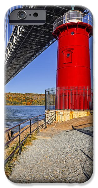Autumn iPhone Cases - Little Red Lighthouse Under Graat Grey Bridge iPhone Case by Susan Candelario