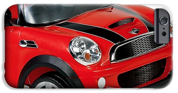 Cars iPhone Cases - Little Red Mini Cooper iPhone Case by Marvin Blaine