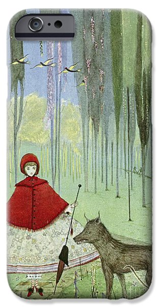 Little Girl iPhone Cases - Little Red Riding Hood, Artwork iPhone Case by British Library