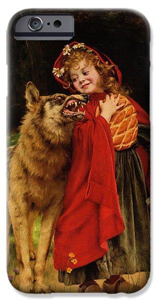 Gabriel iPhone Cases - Little Red Riding Hood iPhone Case by Gabriel Joseph Marie Augustin Ferrier