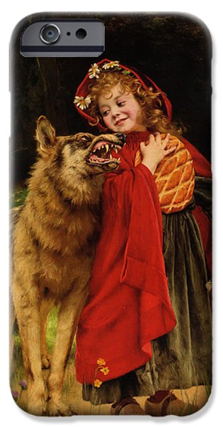 Little Girl iPhone Cases - Little Red Riding Hood iPhone Case by Gabriel Joseph Marie Augustin Ferrier