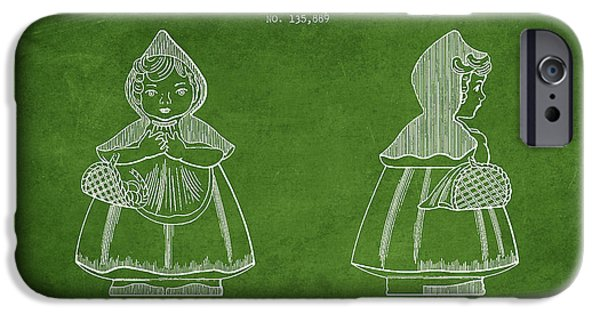 Little Digital Art iPhone Cases - Little Red Riding Hood Patent Drawing from 1943 - Green iPhone Case by Aged Pixel