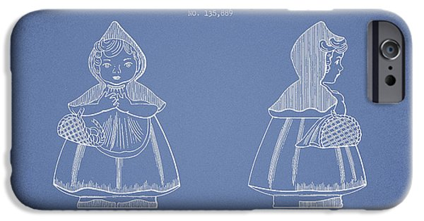 Little Digital Art iPhone Cases - Little Red Riding Hood Patent Drawing from 1943 - Light Blue iPhone Case by Aged Pixel