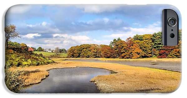 Salt Marsh. New England iPhone Cases - Little River Salt Marsh iPhone Case by Elizabeth Dow