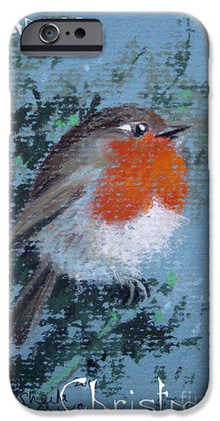Christmas Pastels iPhone Cases - Little Robin Beauty iPhone Case by Sheila  Vickers