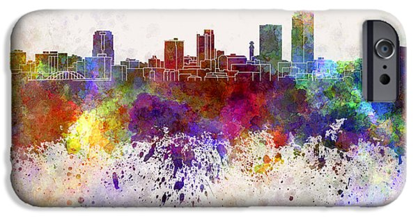 Arkansas iPhone Cases - Little Rock skyline in watercolor background iPhone Case by Pablo Romero