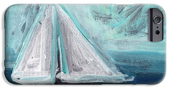 Sailboat Ocean Mixed Media iPhone Cases - Little Sailboat- Expressionist Painting iPhone Case by Linda Woods