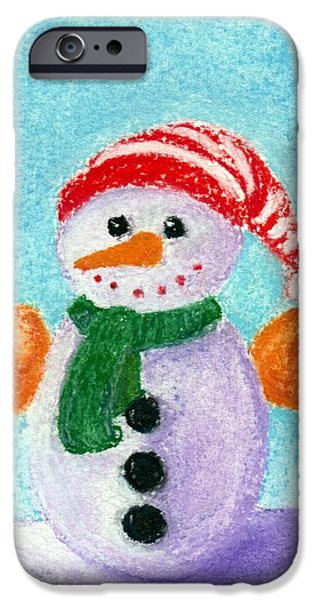 Snow Pastels iPhone Cases - Little Snowman iPhone Case by Anastasiya Malakhova