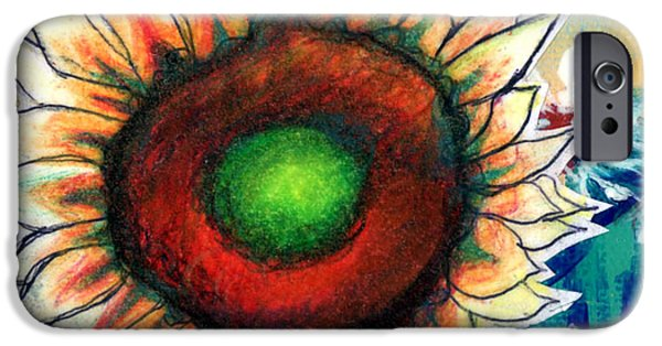 Abstract Expressionist Drawings iPhone Cases - Little Sunflower iPhone Case by Genevieve Esson