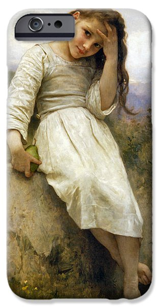 Little Girl iPhone Cases - Little Thief iPhone Case by William Bouguereau