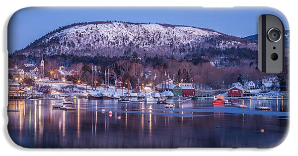 Winter In Maine iPhone Cases - Little Town of Camden iPhone Case by Susan Cole Kelly