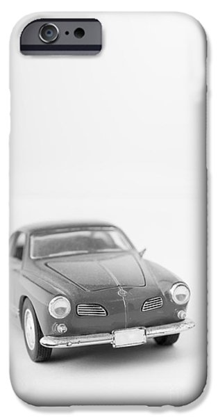 Little Photographs iPhone Cases - Little Toy Car Black and White iPhone Case by Edward Fielding