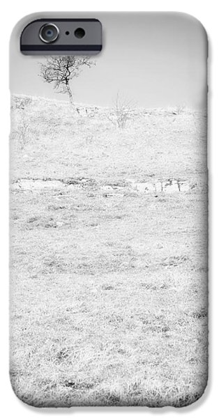 Tree Print Digital iPhone Cases - Little Tree on the Hill - Black and White iPhone Case by Natalie Kinnear