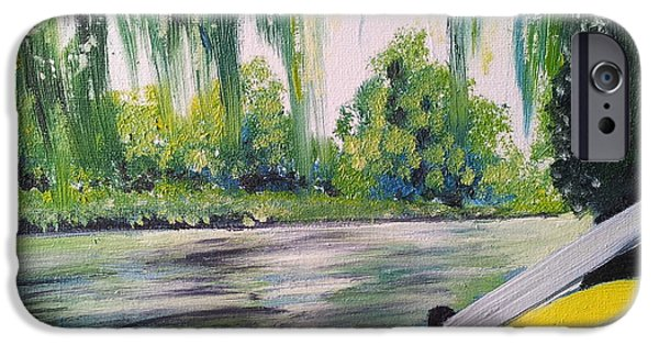 Weeping Willow Tree iPhone Cases - Little Yellow Boat iPhone Case by I F Abbie Shores